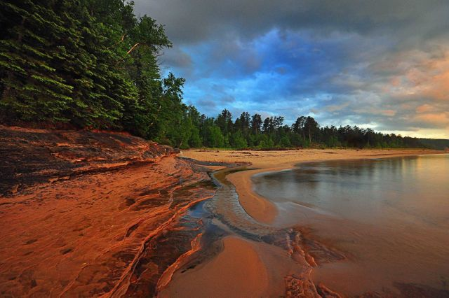 Miners Beach at Pictured Rocks National Lakeshore at sunset following passage of a thunderstorm Picture