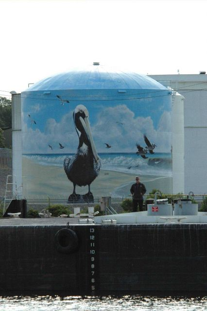 Pelican art on a fuel storage tank on the Cape Fear River. Picture