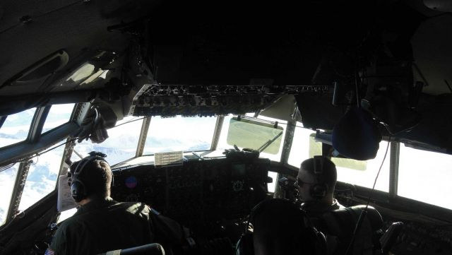 Cockpit of C-130 flying to South Pole Station. Picture