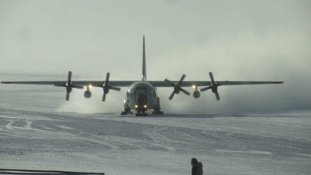 C-130 taxiing at South Pole Station Picture