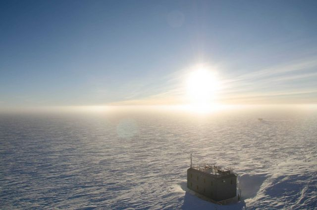 The sun has now risen a few degrees above the horizon at South Pole Station. Picture