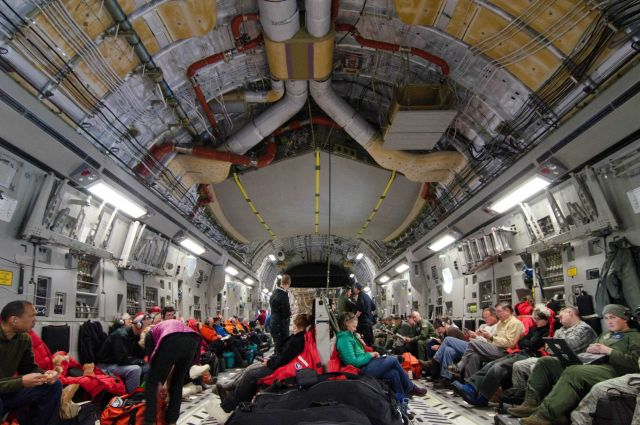 Scientists leaving South Pole Station on C-17 Globemaster. Picture