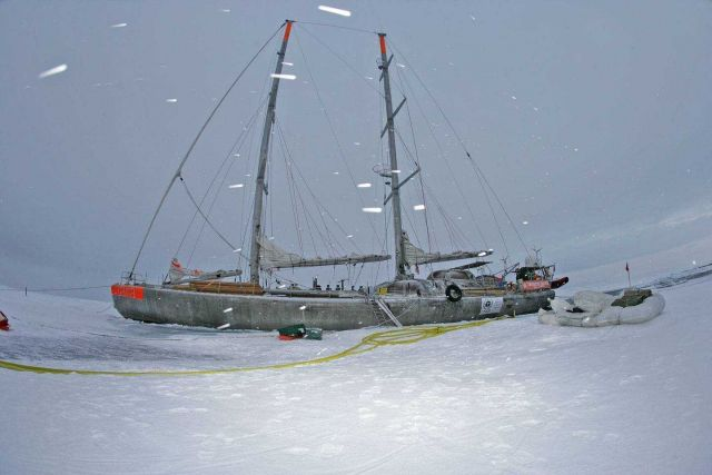 The French sailing vessel TARA which will intentionally be frozen in the ice for two years in order to conduct Arctic climate and oceanographic studie Picture