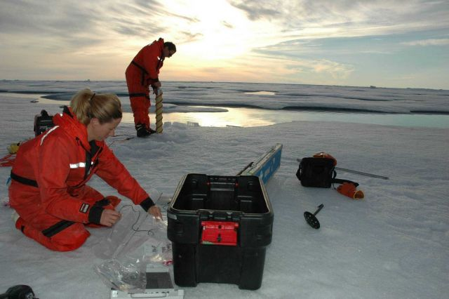 Mette Nielson and Rolf Gradinger work on ice cores Understanding the role of sea-ice in the Arctic food will help scientists determine what impact dec Picture