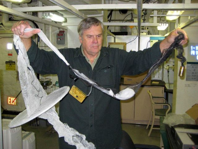 Preparing a fine mesh plankton sampling net for deployment. Picture