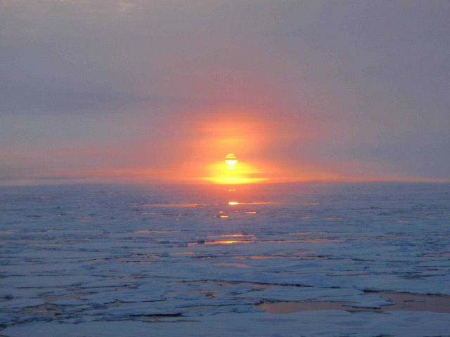 Sun reflecting off open water between ice floes Picture