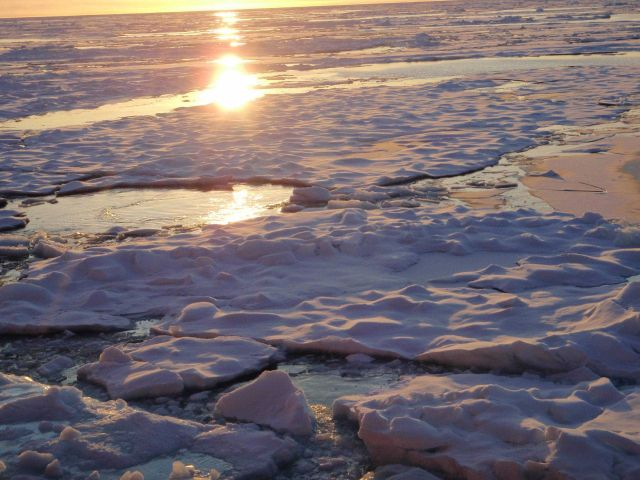 Sun reflecting off refreezing open water and melt pools. Picture