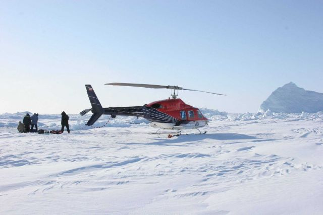 Oceanographic data were collected from helicopter on the frozen sea ice of Baffin Bay during the 2007 narwhal expedition. Picture