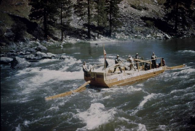 Makeshift boat used by level crew of Ira Rubottom along the Salmon River Picture