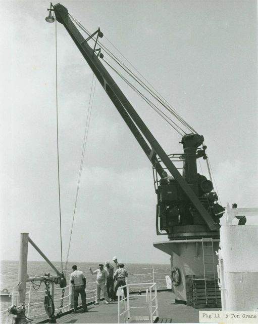 5 ton crane being used for over-the-side oceanographic operations. Picture