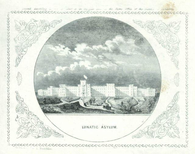 Engraving of the Lunatic Asylum by Albert Boschke of the Coast Survey Picture