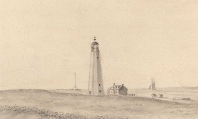 The old Fire Island Lighthouse which was dismantled for the present lighthouse in about 1858 Picture