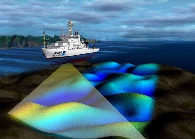 NOAA uses echo-sounding technologies to measure water depths, find underwater physical features, and gather data on the characteristics of the seafloo Picture