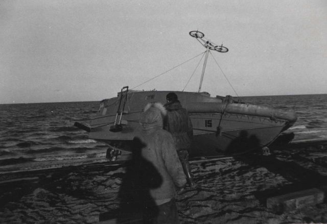 Launching survey boat with Shoran antenna Picture