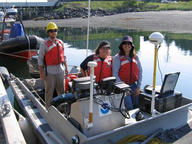Small work boat outfitted with Trimble GPS GPS receiver used in shoreline mapping. Picture