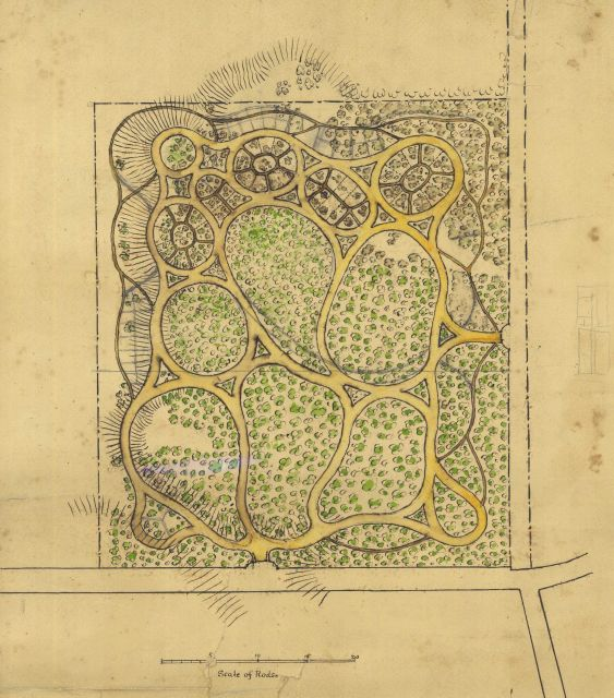 A park designed by Henry Whiting perhaps as an example of topographical drawing. Picture