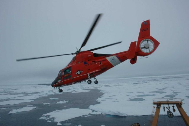 US Coast Guard Cutter HEALY operates with a compliment of two Coast Guard HH-65B Dolphin Helicopters in addition to Healy's normal equipment and crew Picture
