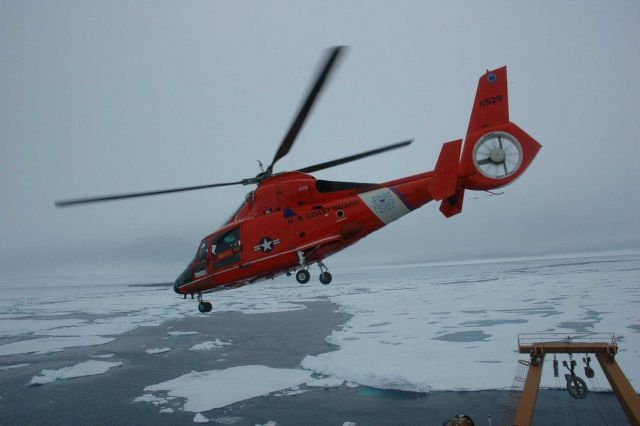 All personnel and scientific equipment for the cruise are brought aboard exclusively by helicopter Picture