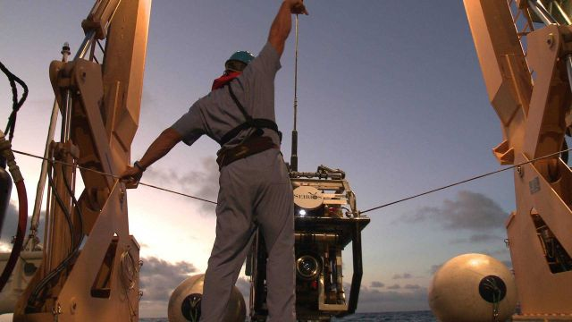 Launching Seirios from the stern of the OKEANOS EXPLORER Picture