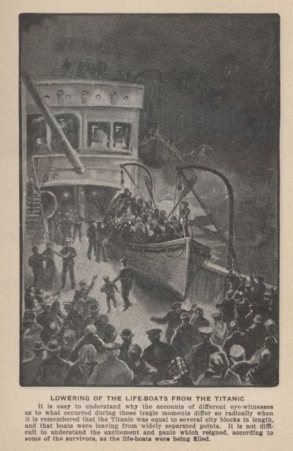 Lowering of the lifeboats from the TITANIC In: Marshall, Logan 1912 Picture