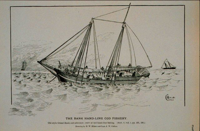 Old style Grand Bank cod schooner; crew at rails hand-line fishing Drawing by H Picture