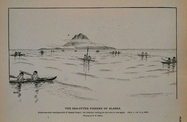 Aleuts sea-otter hunting south of Saanak Island The bidarkies waiting for the otter to rise again Drawing by H Picture