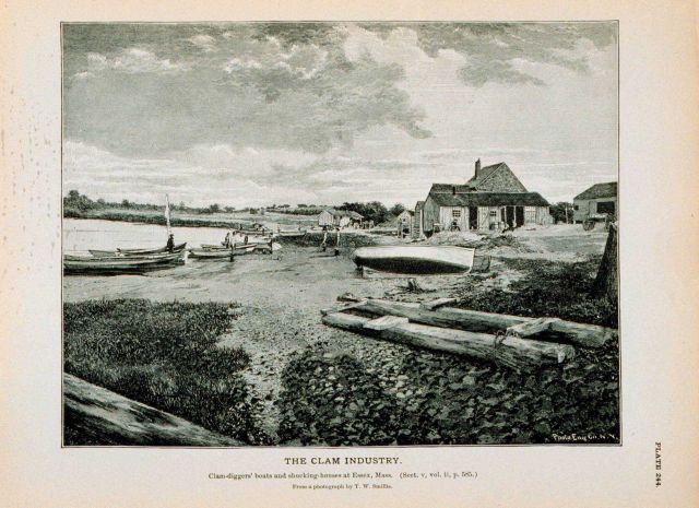 Clam-diggers' boats and shucking-houses at Essex, Massachusetts From photograph by T Picture