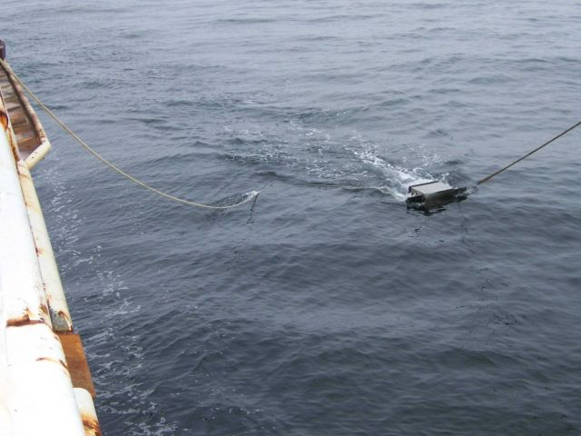 Manta surface tow net deployed. Picture