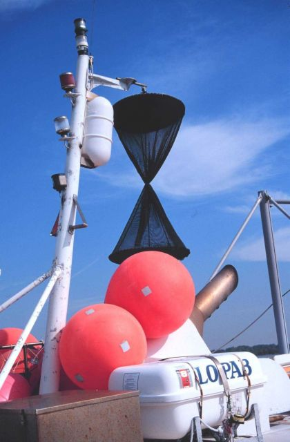 The triangular cones are daymarks to indicate vessel is fishing Picture