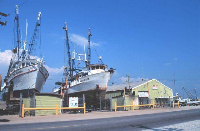 Shrimp boats in a Louisiana boatyard Picture
