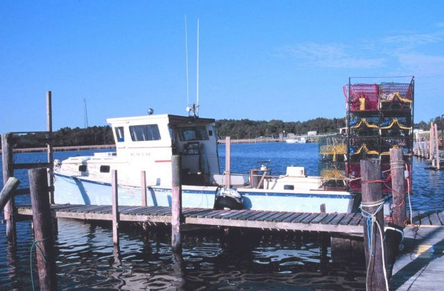 Crab boat with crab pots - used for blue crab Picture