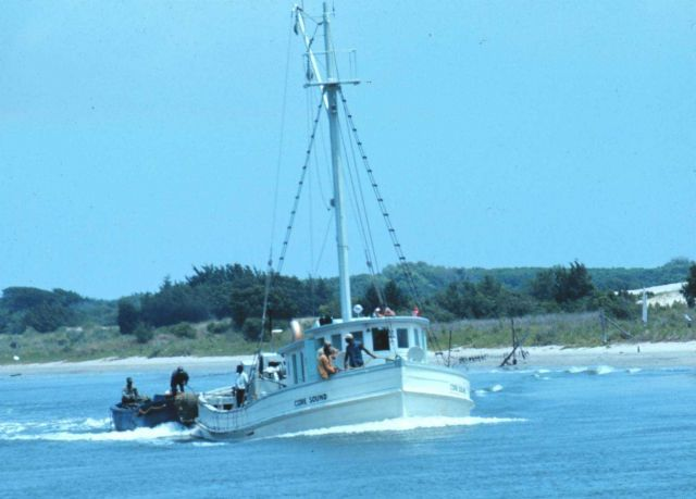 A small menhaden vessel with auxiliary boats being towed astern Picture