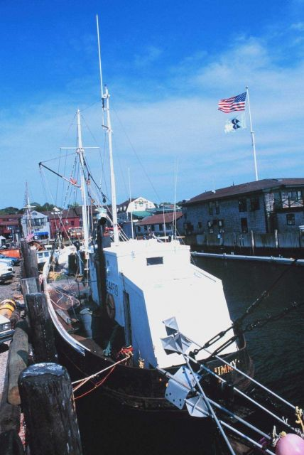 Commercial lobster boat tied up at Aquidneck Lobster Co. Picture