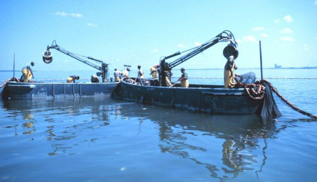 Menhaden fishing - beginning to set out the nets in purse seining operation Picture