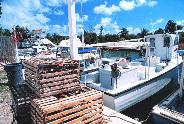 Stone crab pots and fishing boats work out of small inlets in the Florida Keys. Picture