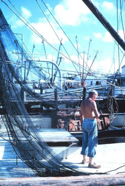 Fisherman working on gear on Texas shrimp boat Picture
