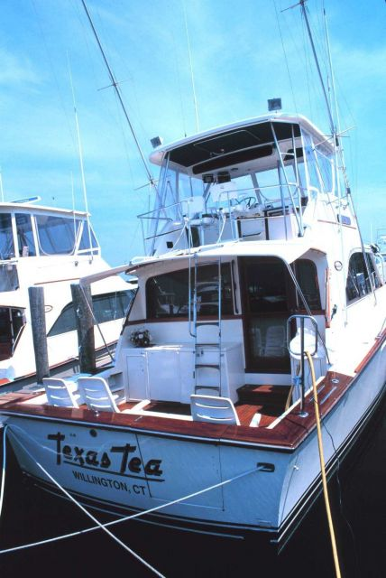 A recreational fishing boat at the Mystic River Marina Picture