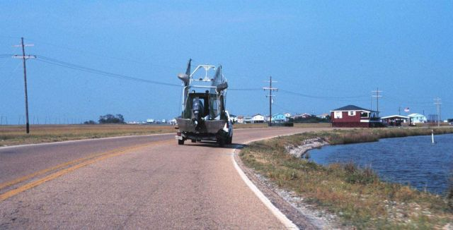 Towing a sportfishing boat by trailer in southern Louisiana. Picture