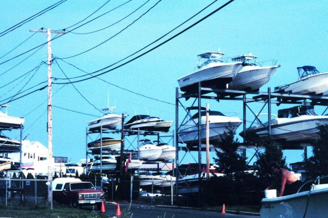 Stacked recreational fishing boats along Ocean Avenue Picture
