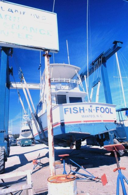 Recreational fishing boat in drydock Picture