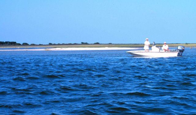 Rod and reel recreational fishing from a small boat in Laguna Madre Picture