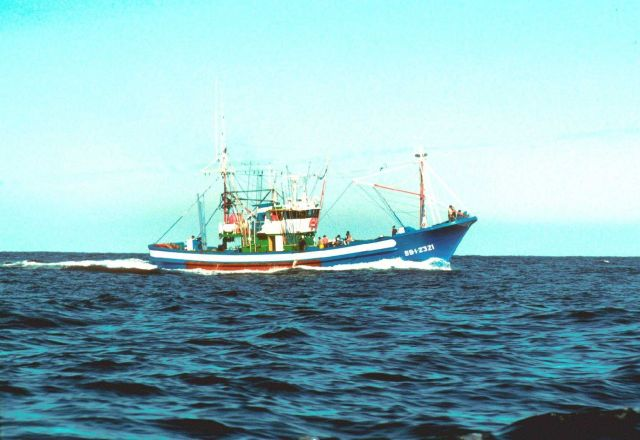Pole and line tuna fishing boat from Fuenterrabia, Northern Spain. Picture