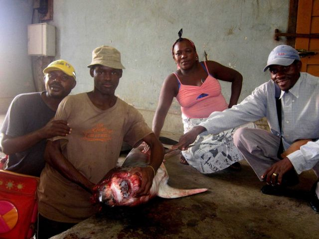 Sao Tomean's posing with shark Picture