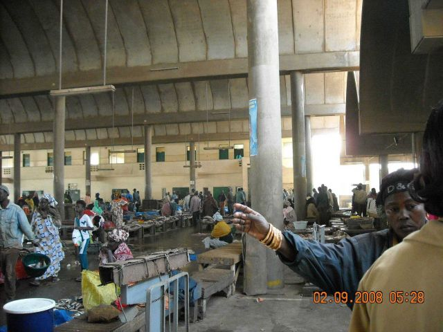 Interior of the Central Fish Market at Dakar. Picture