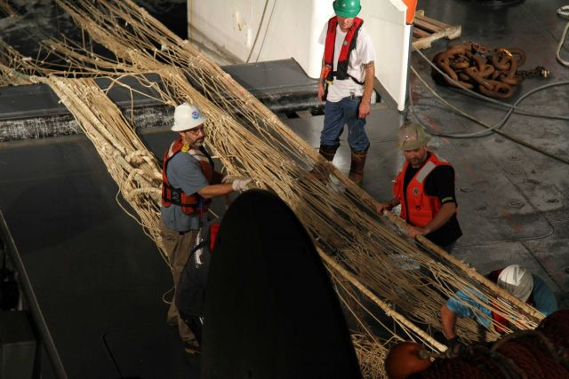 Picking the net of small organisms when trawl being retrieved during sperm whale predation survey. Picture