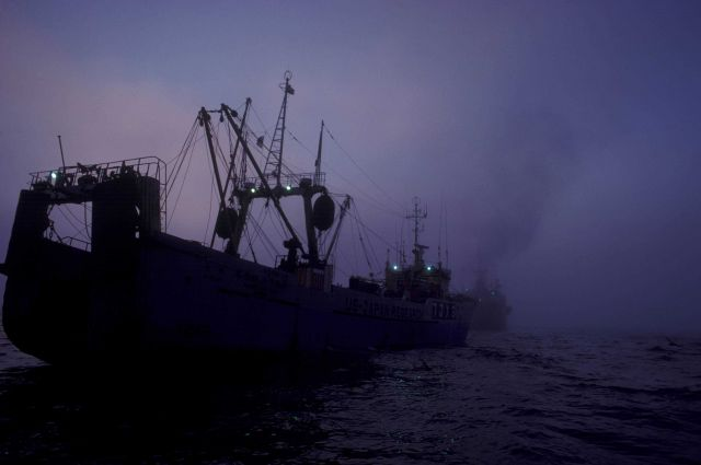 US-Japan Fisheries research vessel HATSUE MARU approaching Japanese factory ship in the eastern Bering Sea Picture