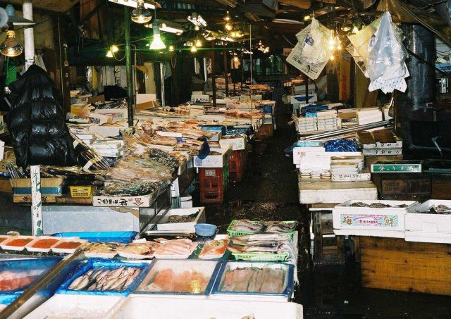 A street market in Northern Japan in the early morning getting ready for sales. Picture