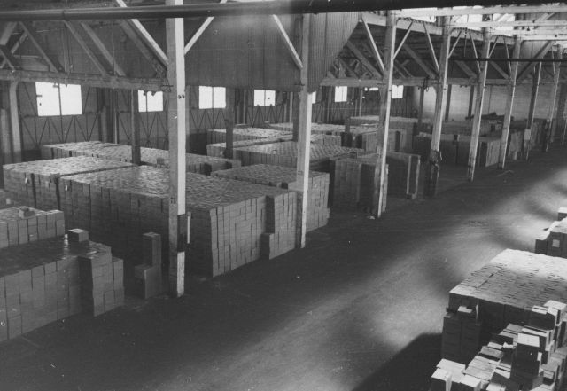 Cases of canned tuna at Columbia River Packers Association warehouse. Picture
