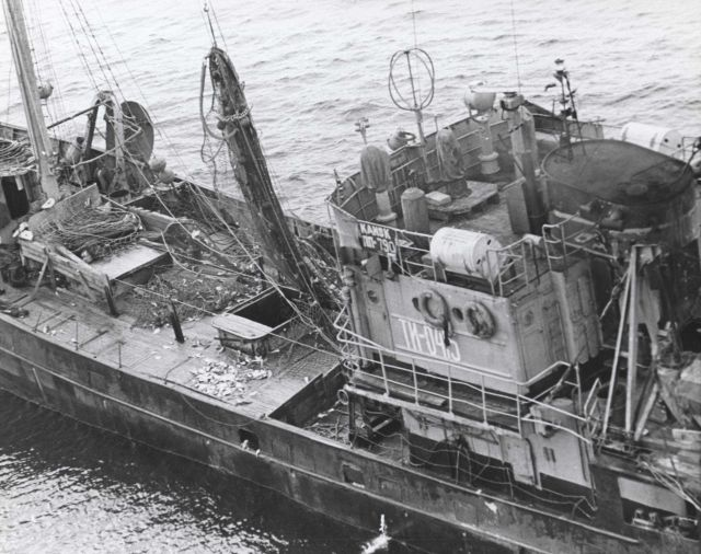 The Soviet SRT KANSK, AT1-0415, a small side trawler completing a haul Picture
