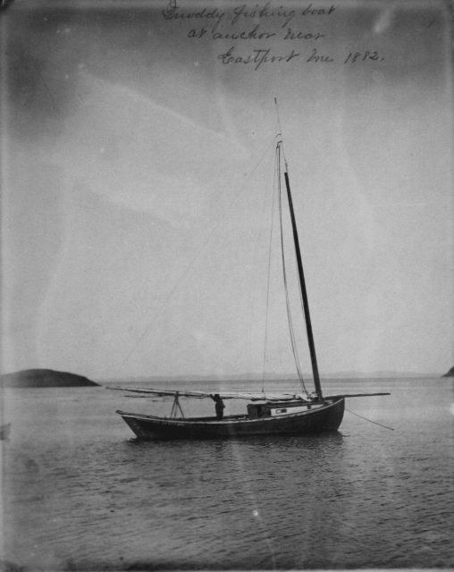 Quoddy fishing boat at anchor near Eastport, ME, 1882. Picture